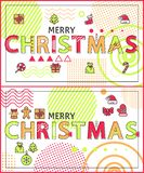 Merry Christmas Linear Festive Holiday Banners Set. Merry Christmas linear festive holiday banners. Ginger bread cookie, red sock and hat, bow on present stock illustration