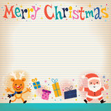 Merry Christmas lined note book paper retro greeting card Royalty Free Stock Photography