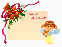 Merry Christmas with little angel! Stock Images