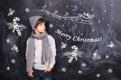 Merry Christmas from little boy Stock Image