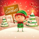 Merry Christmas! Little elf holds wooden board sign in Christmas snow scene winter landscape. Ristmas snow scene winter landscape. Christmas cute cartoon royalty free illustration