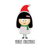 Merry christmas with little girl cartoon Royalty Free Stock Photo