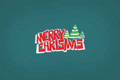 Merry christmas logo. Mery christmas logo with trees stock illustration