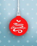 Merry Christmas Logo On Hanging Bauble Royalty Free Stock Photography