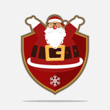 Merry Christmas Logo with happy Santa Claus. Cartoon character. Vector. Royalty Free Stock Images