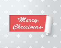 Merry Christmas Logo In Paper Cut Out Label 1 Stock Image
