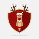 Merry Christmas Logo with reindeer hipster. Cartoon character. Vector. Stock Images