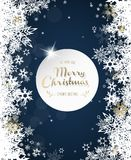 Merry Christmas with lots of snowflakes on blue background. Stock Photography