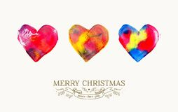Merry Christmas love watercolor vintage card Stock Images