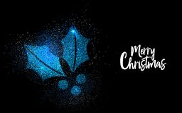 Merry Christmas blue glitter holly greeting card royalty free illustration