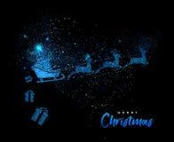 Merry Christmas blue glitter santa greeting card royalty free illustration
