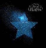 Merry Christmas blue glitter star greeting card stock illustration