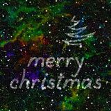 Merry Christmas made of stars in colorful universe.  Abstract background.  Seamless illustration. Royalty Free Stock Photos