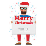 Merry christmas, man with the Board. Santa Claus Cartoon Character Holding Board with good job typography on glowing Background with Merry Christmas Title Royalty Free Stock Image