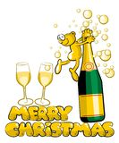 Merry Christmas - Man and champagne Vector Illustration Stock Photography