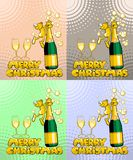 Merry Christmas - Man and champagne Vector Illustration Set Stock Photos