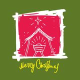 Merry Christmas with manger in nativity scene royalty free illustration