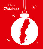 Merry Christmas Map Sweden Royalty Free Stock Photography