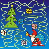 Merry Christmas - maze. Labyrinth - Santa Claus is looking for the right way to the Christmas tree Stock Photography