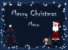 Merry Christmas - meow. Merry Christmas - Santa Claus and cat Royalty Free Stock Photos