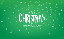 Merry Christmas & Happy New Year Greeting on Snowfalls Scenery. Bright Green Vector Background. Merry Christmas stock illustration