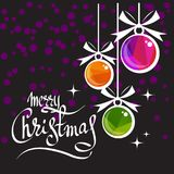 Merry christmas-04. Merry christmas lettering and Christmas balls on ultra violet background. New Year and Christmas illustration. Design element for greeting stock illustration