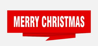 Merry christmas. Sign.  paper origami speech bubble.  tag.  banner vector illustration