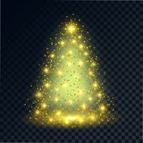 Merry Christmas. A silhouette of the shining fir-tree with spangles and fires on a transparent background. A design element for festive actions. Vector Stock Illustration