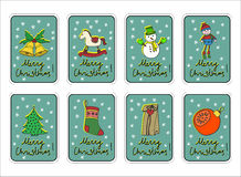 Merry Christmas, merry holidays, new year greeting card set with decorations. Royalty Free Stock Photography