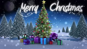 Merry Christmas message appearing in snowy landscape. Digital animation of Merry Christmas message appearing in snowy landscape