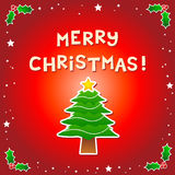 Merry Christmas Message with a Christmas Tree Royalty Free Stock Photo
