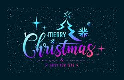 Merry Christmas message colorful at star night background vector illustration