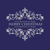 Merry Christmas message and dark blue background. Stock Photography