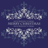 Merry Christmas message and dark blue background. Stock Photos