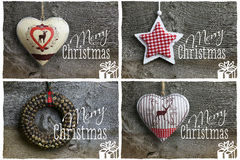 Merry Christmas Message, Decoration Pinecone Wreath, Tin Hearth, Stock Photography