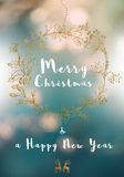 Merry Christmas message, golden wreath and soft Stock Image