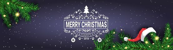 Merry Christmas Message On Horizontal Banner Decorated With Pine Tree Branches Holiday Poster Design. Vector Illustration Stock Images