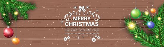 Merry Christmas Message On Horizontal Wooden Textured Banner Decorated With Pine Tree Branches Holiday Poster Design. Vector Illustration Stock Images