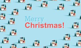 Merry christmas message with car carrying Christmas trees. Merry christmas message with little car carrying Christmas trees royalty free stock images