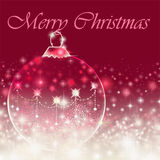 Merry Christmas message on red background with bauble Stock Photography