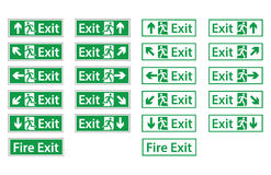 Fire Emergency Exit Signs. Emergency exit sign collection Royalty Free Stock Photos