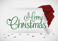 Merry Christmas message with Santa's Hat, Vector Illustration stock images