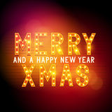Merry Christmas Message Sign. Glamorous theatre text. Vector illustration Stock Photo