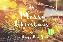 Merry Christmas message on soft background with Stock Image