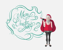 Merry christmas message vector in cursive green with hipster santa Stock Photos