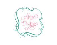 Merry christmas message vector in cursive green and pink Stock Image