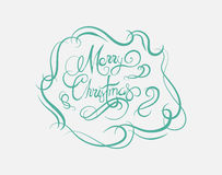 Merry christmas message vector in cursive green Stock Photos