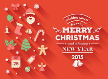 Merry christmas message vector with cute illustrations Royalty Free Stock Photography
