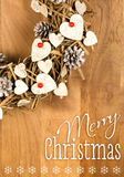 Merry Christmas Message Wreath Decoration White Hearts Red Berri Stock Photo