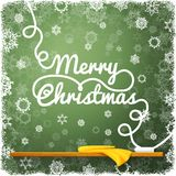 Merry christmas message, written on the green. School chalkboard with curl lettering. vector Royalty Free Stock Photos